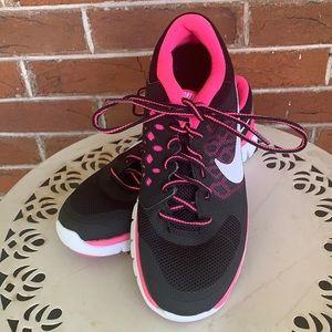 Nike Flex Girls Pink Black Running Shoes